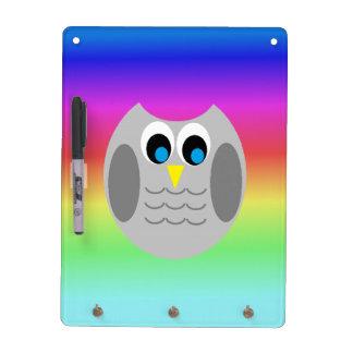 Cute Grey Owl Rainbow Background Dry Erase Board