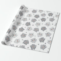 Cute Grey Owls Baby Shower Wrapping Paper