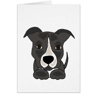 Cute Grey Pitbull Puppy Dog Card