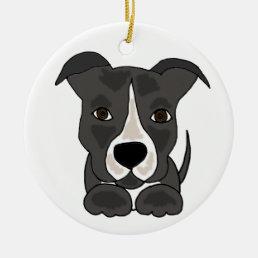 Cute Grey Pitbull Puppy Dog Ceramic Ornament