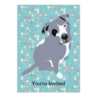 Cute Grey Pitbull Puppy on Squares Pattern Card