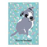 Cute Grey Pitbull Puppy on Squares Pattern 5x7 Paper Invitation Card
