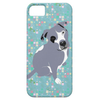 Cute Grey Pitbull Puppy on Squares Pattern iPhone SE/5/5s Case
