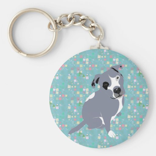 Cute Grey Pitbull Puppy on Squares Pattern Basic Round Button Keychain