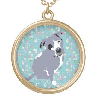 Cute Grey Pitbull Puppy on Squares Pattern Custom Jewelry