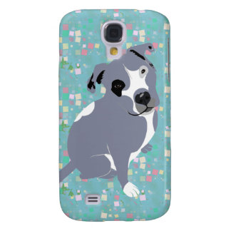 Cute Grey Pitbull Puppy on Squares Pern Samsung Galaxy S4 Cover