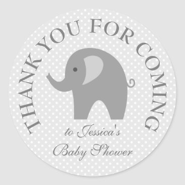 Toddler & Baby themed Cute grey polka dots elephant baby shower stickers