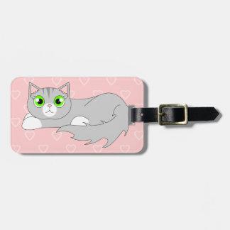 Cute Grey Ragdoll Cat Cartoon Bag Tag