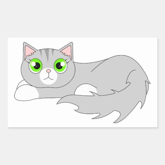 Cute Grey Ragdoll Cat Cartoon Rectangular Sticker