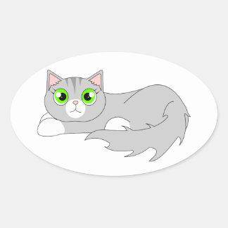 Cute Grey Ragdoll Cat Cartoon Sticker
