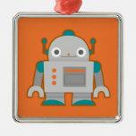 Cute Grey Robot Christmas Ornaments