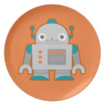 Cute Grey Robot Party Plate