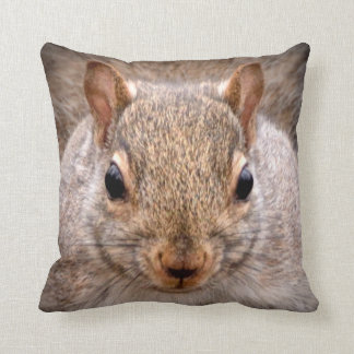Cute Grey Squirrel Face Wildlife Portrait Throw Pillow