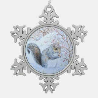 Cute grey squirrel snow scene wildlife art snowflake pewter christmas ornament