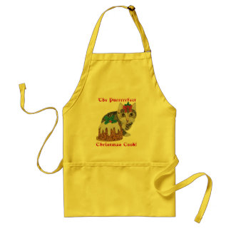 cute grey tabby kitten and christmas pudding Apron