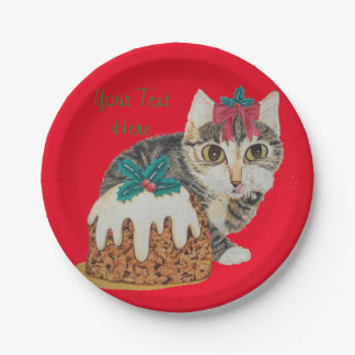 Cute grey tabby kitten and Christmas pudding cat 7 Inch Paper Plate
