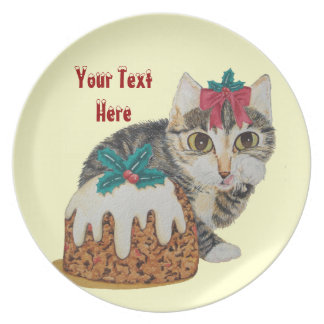 Cute grey tabby kitten and Christmas pudding cat Party Plates