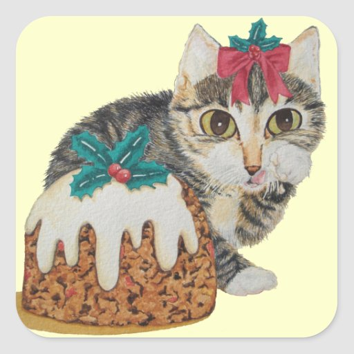 cute grey tabby kitten and Christmas pudding cat Sticker