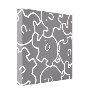 Cute Grey White Elephants Canvas Wall Art Stretched Canvas Print
