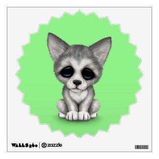 Cute Grey Wolf Cub Puppy on Green Wall Sticker