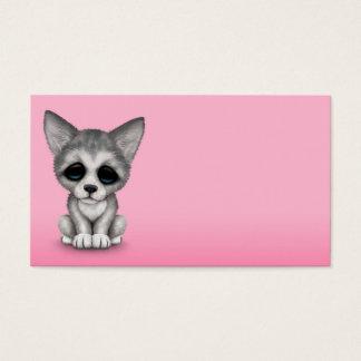 Cute Grey Wolf Cub Puppy on Pink Business Card