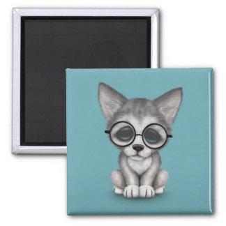 Cute Grey Wolf Cub Wearing Glasses on Blue Magnet
