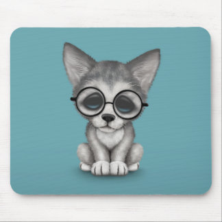 Cute Grey Wolf Cub Wearing Glasses on Blue Mouse Pad