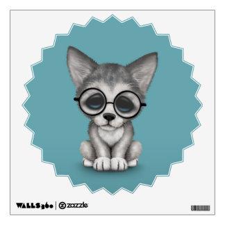Cute Grey Wolf Cub Wearing Glasses on Blue Wall Sticker