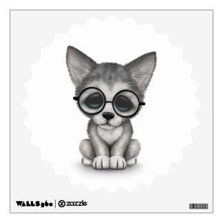 Cute Grey Wolf Cub Wearing Glasses on White Wall Sticker
