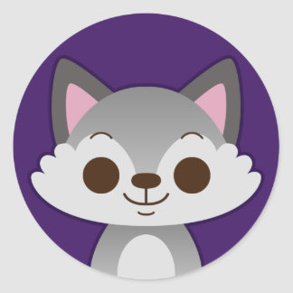 Cute Grey Wolf on Purple Classic Round Sticker