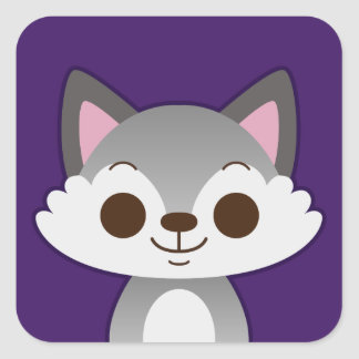 Cute Grey Wolf on Purple Square Sticker