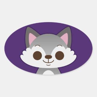 Cute Grey Wolf on Purple Oval Sticker