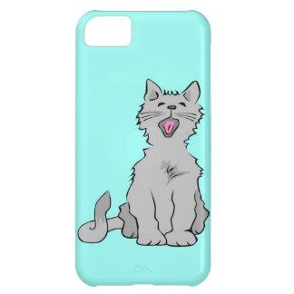 Cute grey yawning animated cat iPhone 5C case