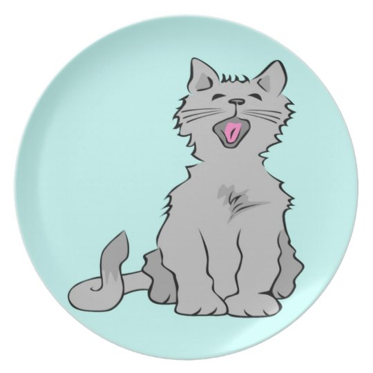 Cute grey yawning animated cat dinner plate