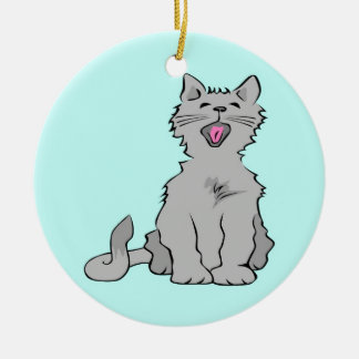 Cute grey yawning animated cat christmas tree ornaments
