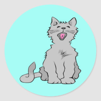 Cute grey yawning animated cat stickers