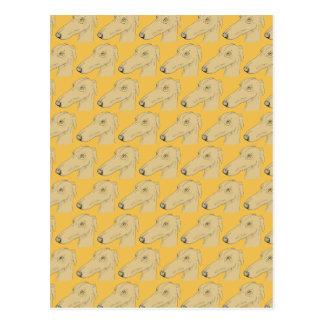 Cute greyhound pattern postcard