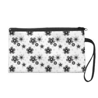 Cute Greyscale Flower pattern Wristlet