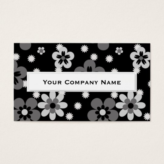 Cute Greyscale flower pattern Business Cards