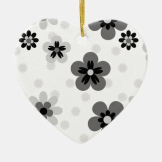Cute Greyscale Flower pattern Ceramic Ornament