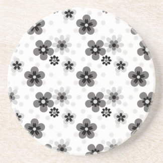 Cute Greyscale Flower pattern Coaster