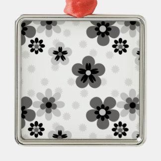 Cute Greyscale Flower pattern Metal Ornament