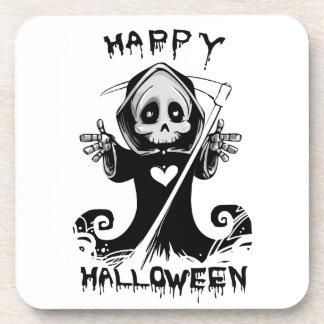 Cute grim reaper halloween beverage coaster