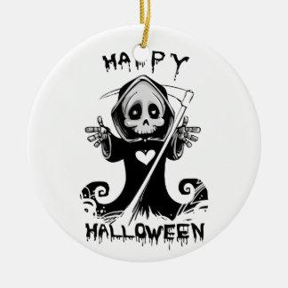 Cute grim reaper halloween ceramic ornament