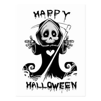 Cute grim reaper halloween postcard