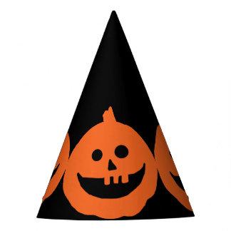 Cute  Grinning Pumpkin On Black Halloween Party Hat