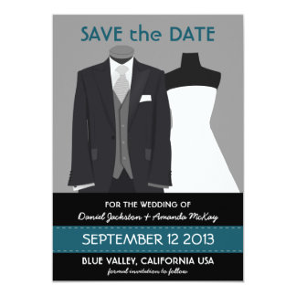 "Cute Groom and Bride Mannequin Save the Date 5"" X 7"" Invitation Card"