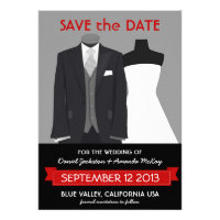 Cute Groom and Bride Mannequin Save the Date Announcement
