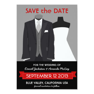 Cute Groom and Bride Mannequin Save the Date 5x7 Paper Invitation Card