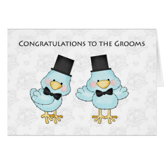 Wedding Congratulations Gift Baskets : Cute Groom Birds, Gay Men Wedding Congratulations Card